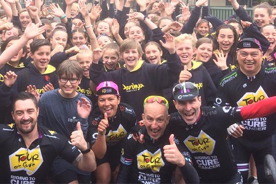 Cyclists in Tour de Cure share cancer awareness message at Derinya Primary, Frankston